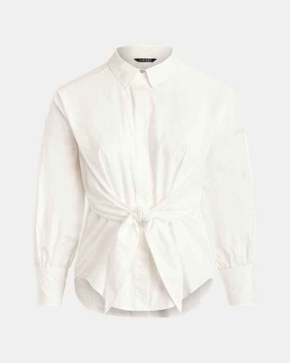 Tie-Front Cotton Broadcloth Shirt