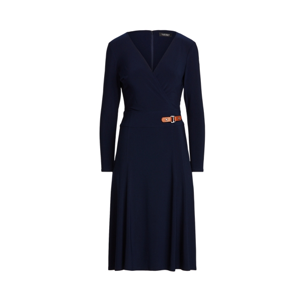 Lauren Buckle Trim Jersey Dress,Lighthouse Navy