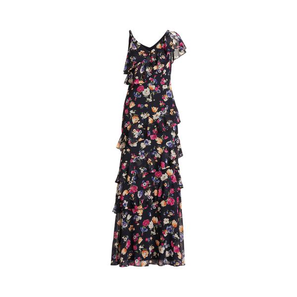 Lauren Floral Crinkled Georgette Gown,Navy/Pink/Multi