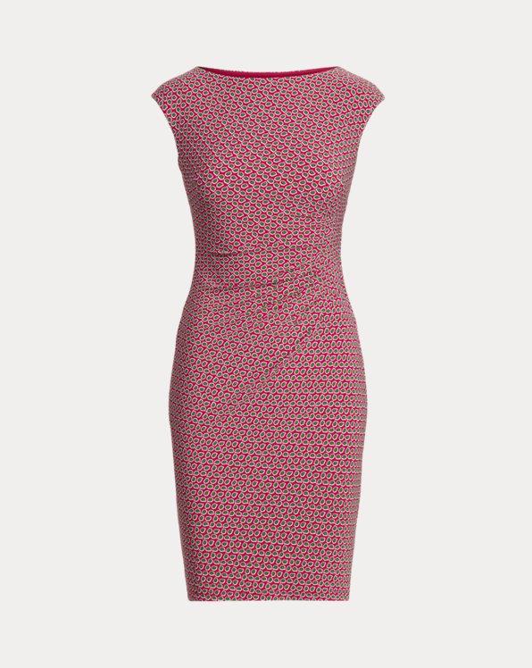 Print Ruched Boatneck Dress