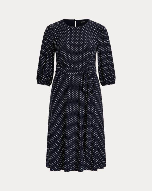Polka-Dot Balloon-Sleeve Dress
