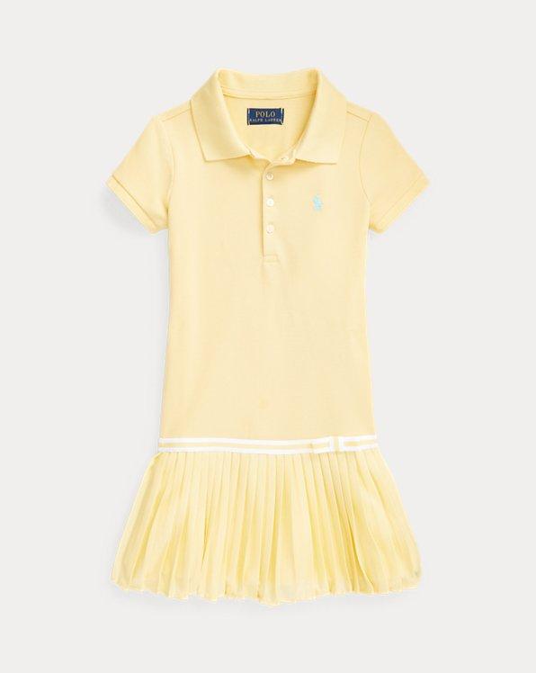 Pleated Mesh Polo Dress