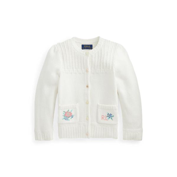 폴로 랄프로렌 여아용 플로럴 코튼 가디건 - 트로피 크림 Polo Ralph Lauren Floral Cotton Cardigan