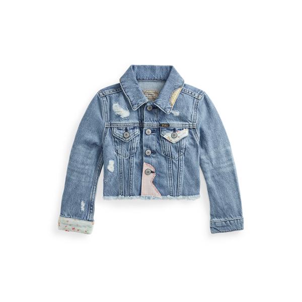 Polo Ralph Lauren Kids' Cropped Denim Trucker Jacket In Blue