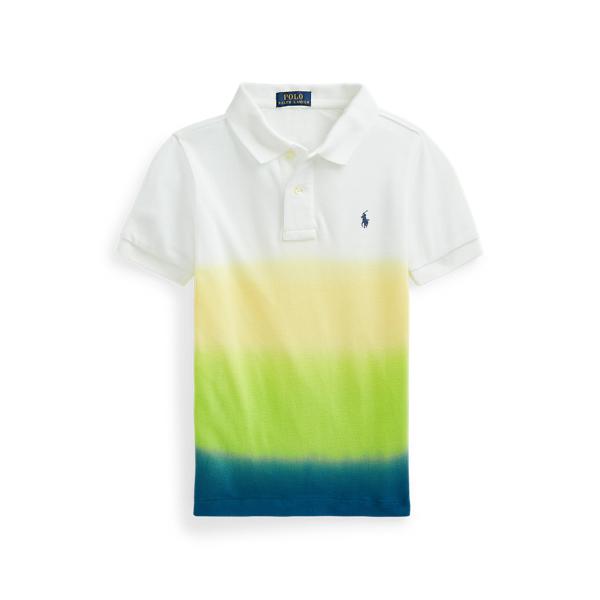 Polo Ralph Lauren Kids' Dip-dyed Cotton Mesh Polo Shirt In Bright Navy Dip Dye Multi