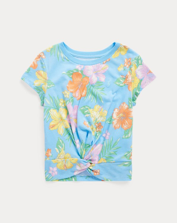 Floral Twisted-Knot Cotton Jersey Tee