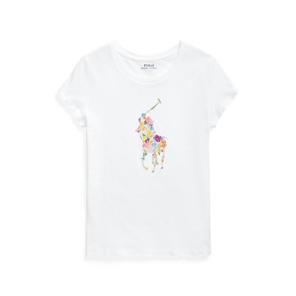 폴로 랄프로렌 Polo Ralph Lauren Floral Pony Cotton Jersey Tee,White
