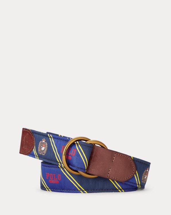 Polo Bear Leather-Trim Belt