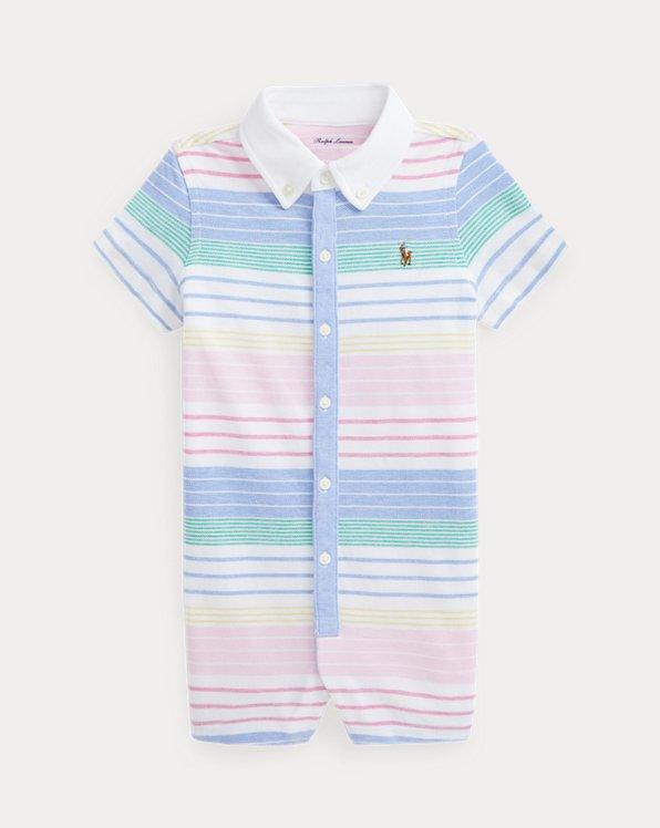 Striped Cotton Mesh Shortall