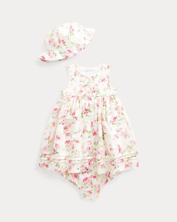 Floral Dress, Bloomer, & Hat Set