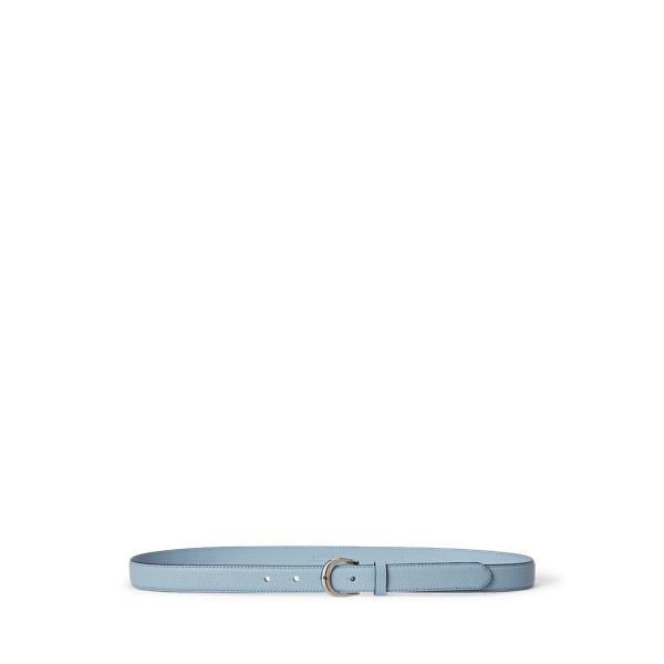 Lauren Pebbled Leather Belt,Dust Blue
