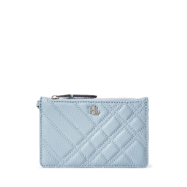 Lauren Quilted Plaid Leather Zip Card Case,Dust Blue