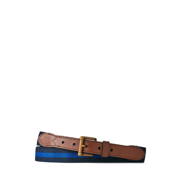 폴로 랄프로렌 Polo Ralph Lauren Leather Trim Stretch Belt,Navy/Royal