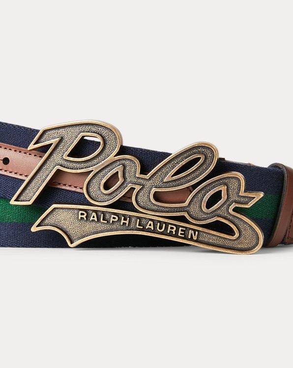Logo-Buckle Striped Belt