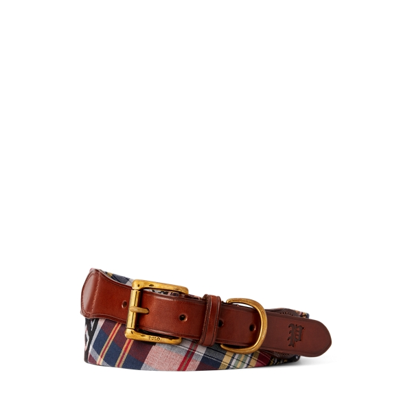 폴로 랄프로렌 Polo Ralph Lauren Leather Trim Madras Belt,Brown/Plaid