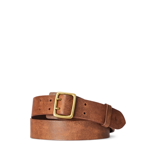 폴로 랄프로렌 Polo Ralph Lauren Double Prong Leather Belt,Brown