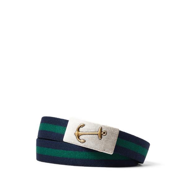 Ralph Lauren Anchor-buckle Striped Belt In Multi