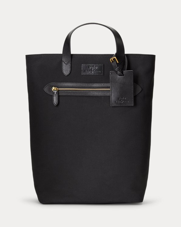 Leather-Trim Canvas Convertible Tote