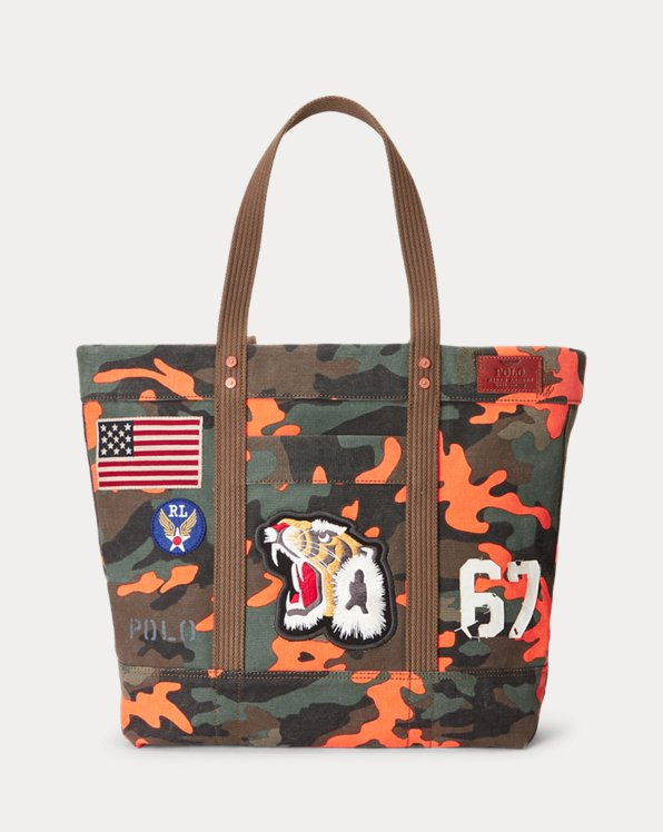 Tiger-Patch Camo Canvas Tote