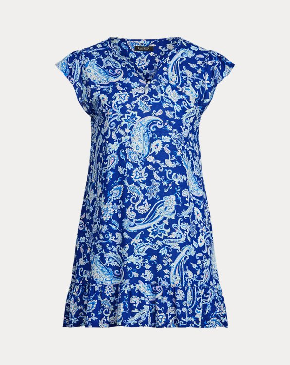 Paisley Flutter-Sleeve Nightgown