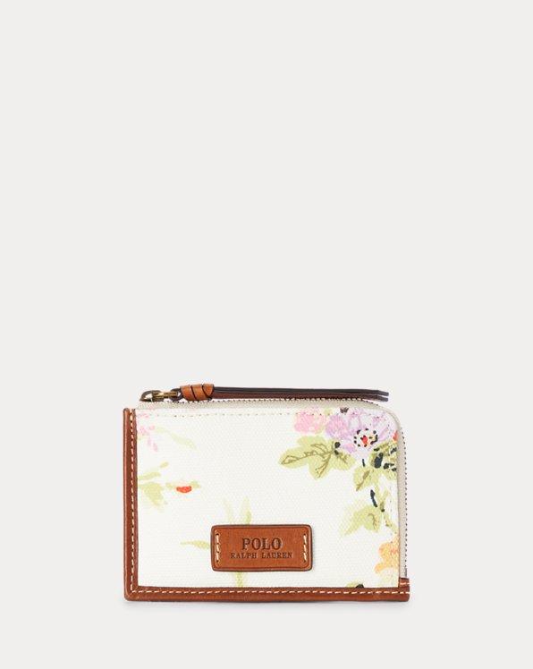 Canvas Floral Zip Card Case