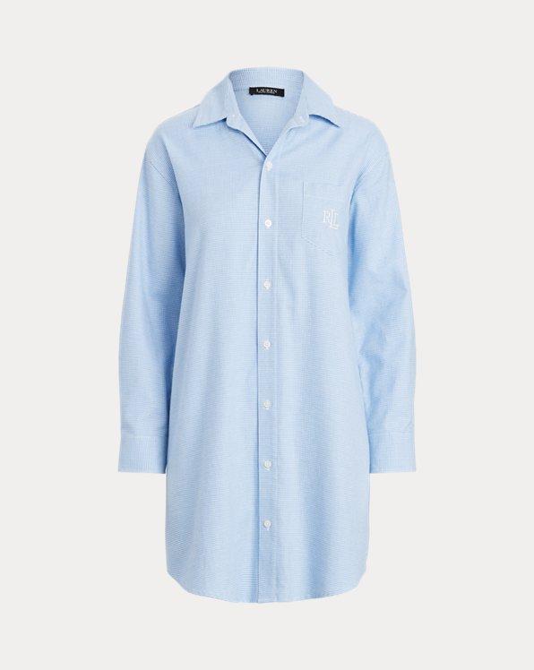 Houndstooth Brushed Twill Sleep Shirt