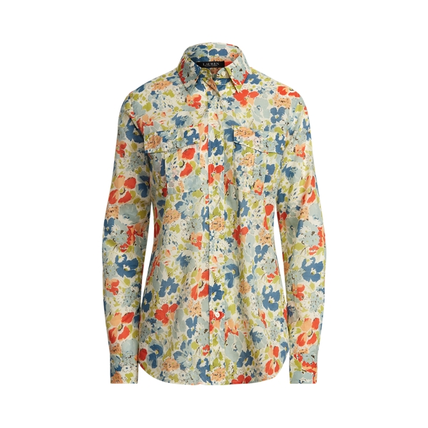 Lauren Petite Floral Cotton Voile Shirt,Cream Multi