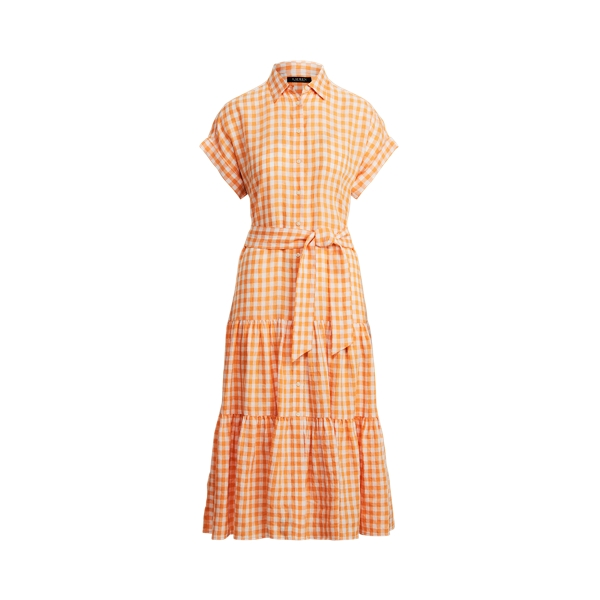 Lauren Petite Gingham Linen Shirtdress,Orange/White