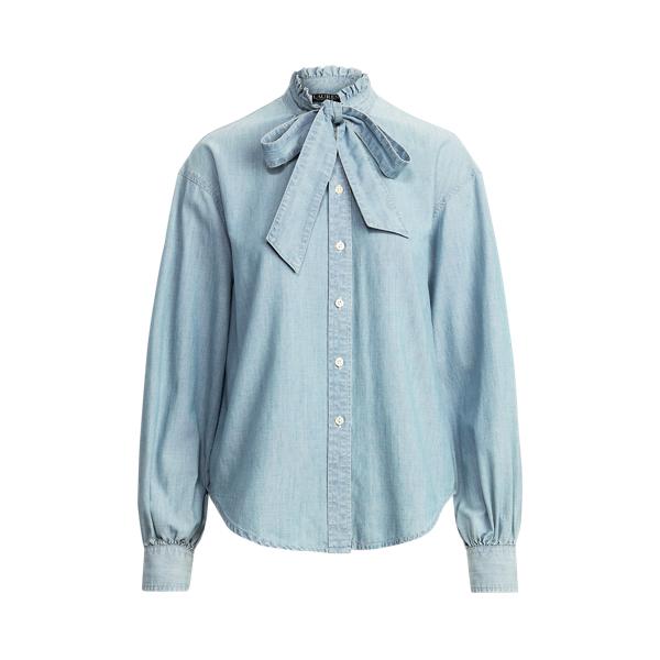 Lauren Petite Chambray Tie Neck Shirt,Legacy Wash