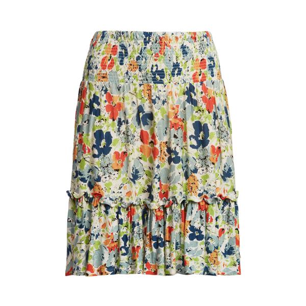 Lauren Petite Floral Linen Jersey Skirt,Cream Multi