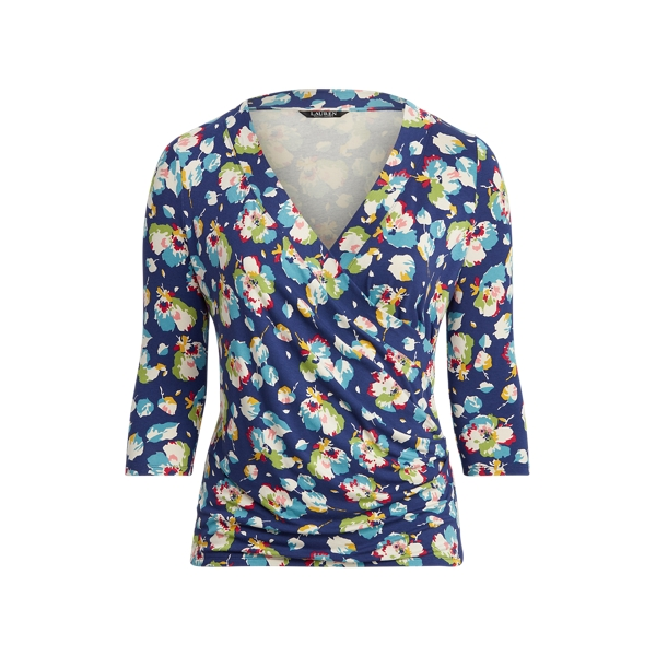 Lauren Woman Floral Wrap Style Jersey Top,Royal Navy Multi