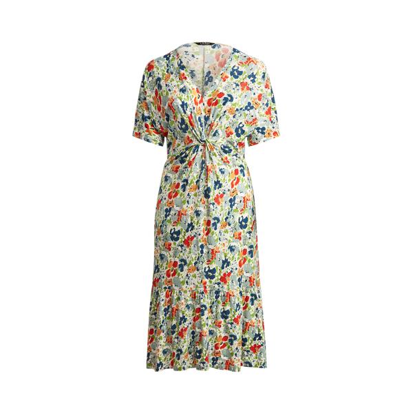 Lauren Woman Floral Linen Blend Jersey Dress,Cream Multi