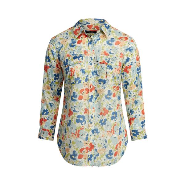 Lauren Woman Floral Cotton Voile Shirt,Cream Multi