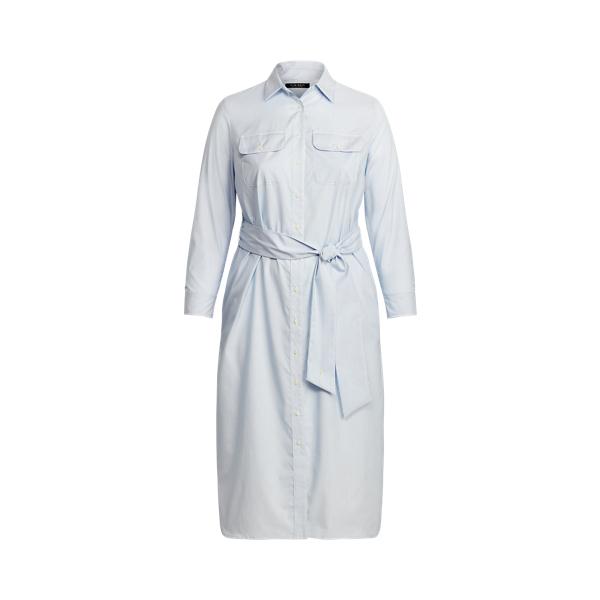 Lauren Woman Striped Cotton Broadcloth Shirtdress,Blue/White Multi