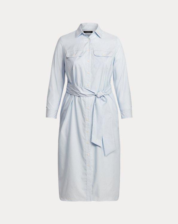 Striped Cotton Broadcloth Shirtdress