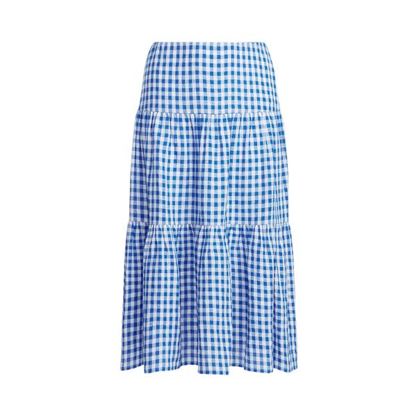 Lauren Woman Gingham Linen Maxiskirt,Blue/White
