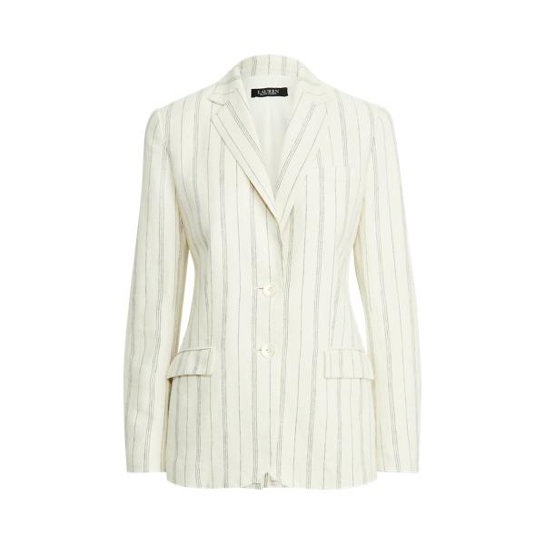 Lauren Striped Linen Twill Blazer,Mascarpone Cream/Navy