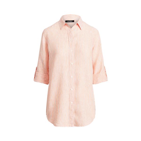 Lauren Striped Linen Shirt,Orange/White Multi