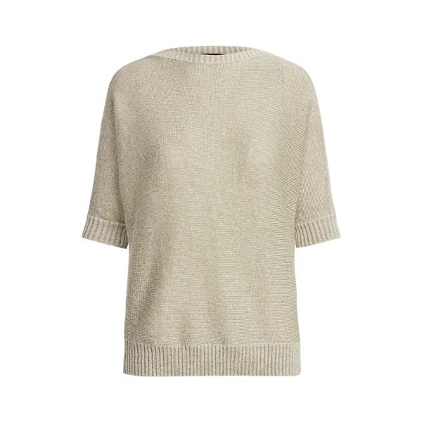 Lauren Metallic Linen Blend Sweater,Silver