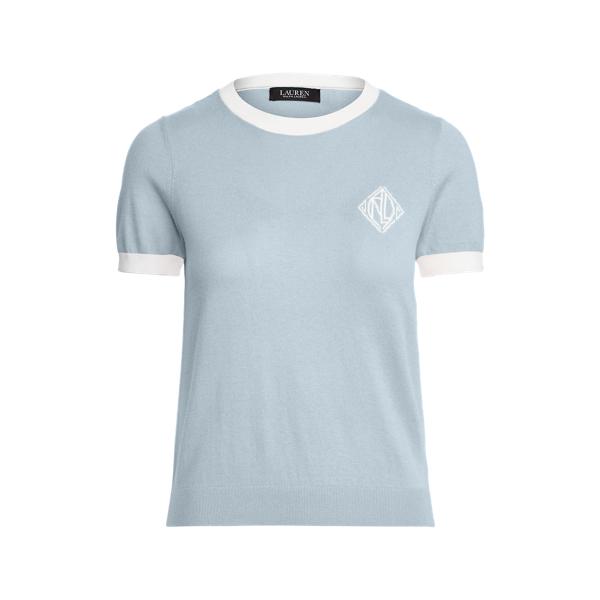 Lauren Intarsia Knit Cotton Modal Sweater,Dust Blue/White