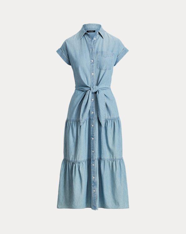 Belted Chambray Shirtdress