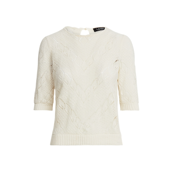 Lauren Chevron Pointelle Linen Sweater,Mascarpone Cream