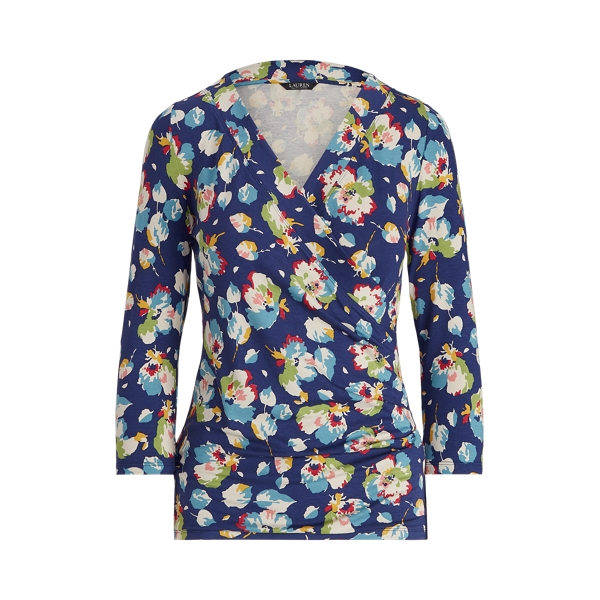 Lauren Floral Wrap Style Jersey Top,Royal Navy Multi