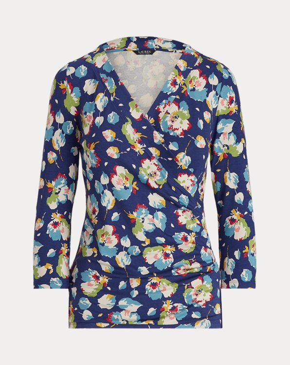 Floral Wrap-Style Jersey Top
