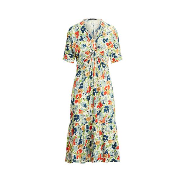 Lauren Floral Linen Blend Jersey Dress,Cream Multi
