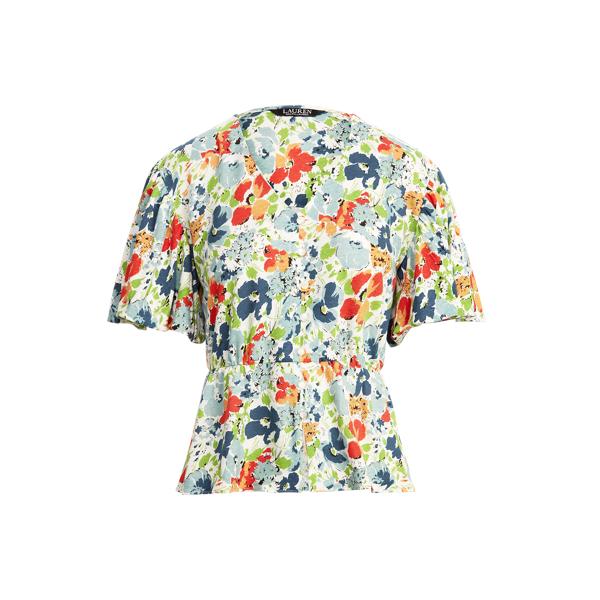 Lauren Floral Linen Jersey Peplum Top,Cream Multi