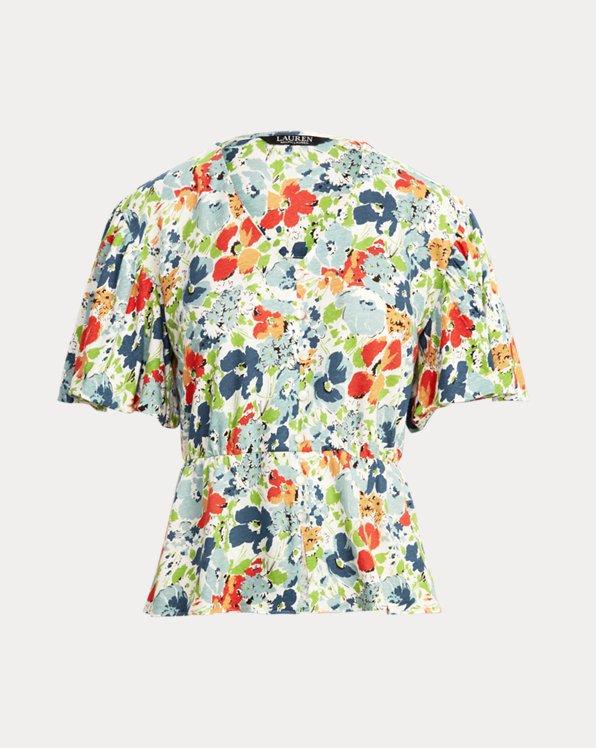 Floral Linen Jersey Peplum Top