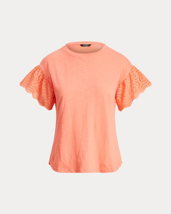 Slub Jersey Flutter-Sleeve Top