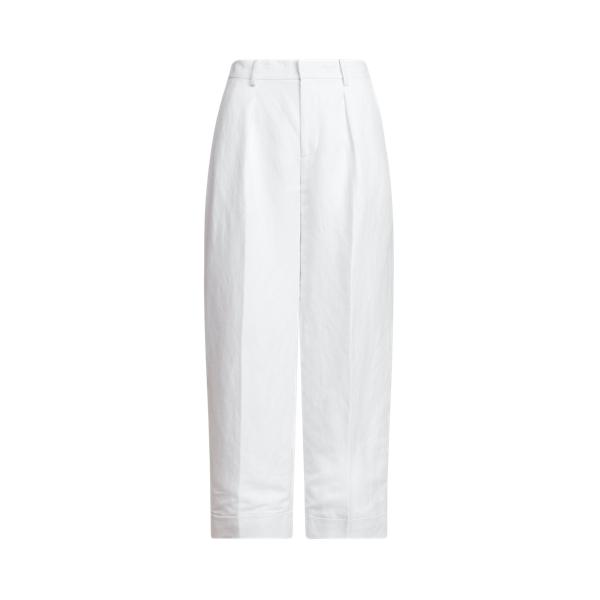 Lauren Linen Twill Wide Leg Pant,White