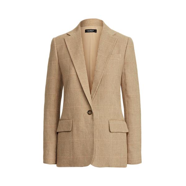 Lauren Tweed Cotton Linen Blazer,Tan Multi